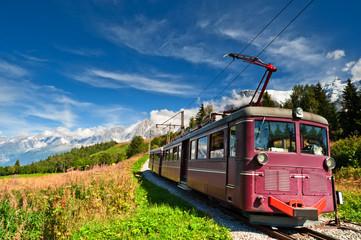 Mountain tram in Alps. France, Chamonix valley.