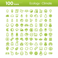 100 Strocked Icons - Ecology and Climate Set