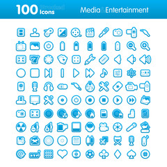 100 Strocked Icons - Multimedia and Entertainment Set