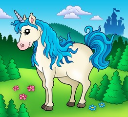 Foto op Textielframe Pony Cute unicorn in forest