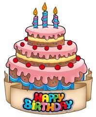 Happy birthday theme with cake