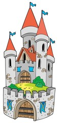 Cartoon castle with fortification