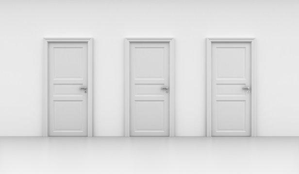 Three closed doors