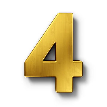 The number 4 in gold