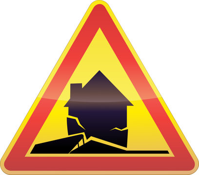Panneau de danger temporaire glissement de terrain (détouré)