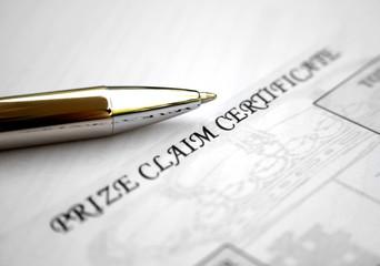 Prize claim certificate