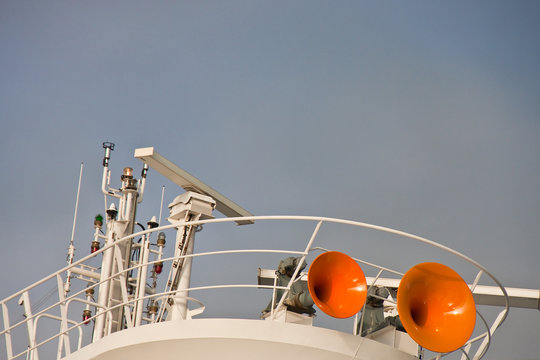 Orange Air Horns on Ships Tower