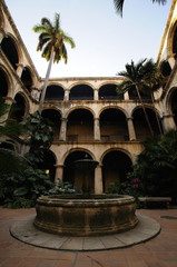 Havana building interior with fountain and vegetation
