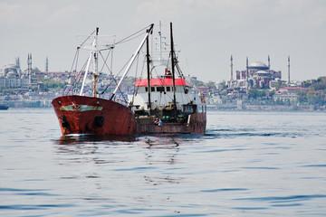 Fishing ship in the Marmara Sea in Istanbul, Turkey