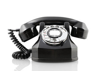 Vintage black rotary phone (with clipping path)