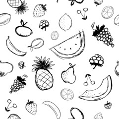 Fruits and berries sketch, seamless background for your design
