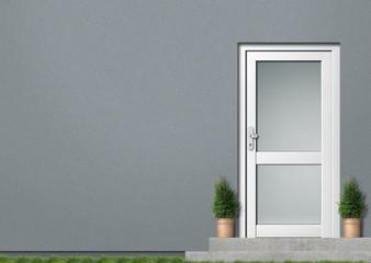 Illustration Hauseingang grau
