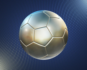 metallic football (soccer ball) on the blue hi-tech background
