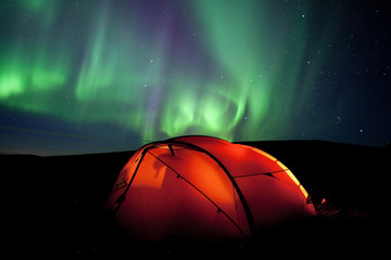 aurora borealis and tent in Lappland september 2010