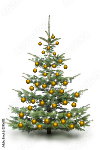 weihnachtsbaum mit goldenen kugeln stockfotos und. Black Bedroom Furniture Sets. Home Design Ideas