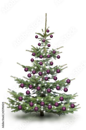 weihnachtsbaum mit violetten kugeln stockfotos und. Black Bedroom Furniture Sets. Home Design Ideas