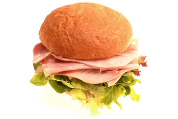 Ham and Salad Bread Roll