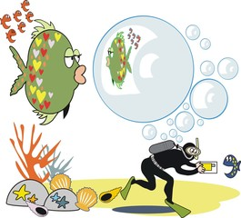 Funny fish bubble cartoon