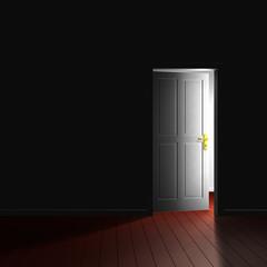 Zimmertür im Gegenlicht