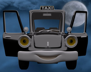 taxi moon light background