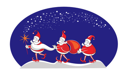 New Year Winter Christmas card with 3 Santa Claus