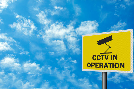 CCTV warning sign, photo realistic, with space for your text