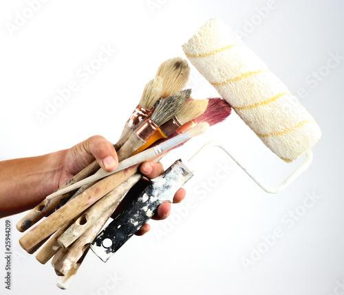 pinceaux rouleau outils de peinture d coration photo libre de droits sur la banque d 39 images. Black Bedroom Furniture Sets. Home Design Ideas