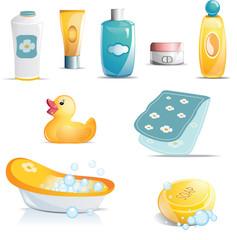 Baby Bath Time Icon Set