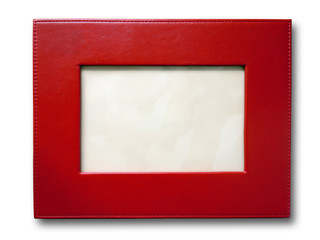 Red leather picture frame