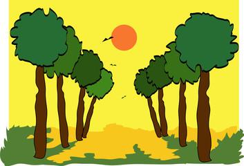 cielo giallo con sole rosso