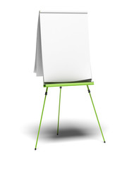 empty training flipchart over a white background - coaching