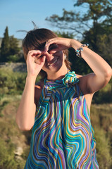 girl hand binoculars