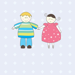 Illustration of Boy and Girl .Vector illustration