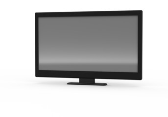 3D rendering of tv,lcd monitor on white background