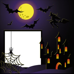 Halloween photo frame for scrapbooking. vector