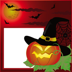 Halloween postcard or photo frame for scrapbooking. vector