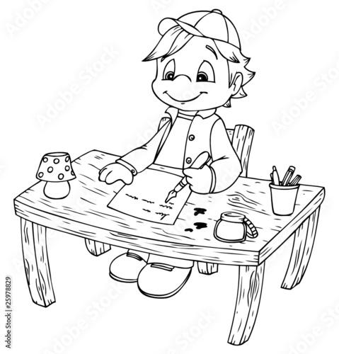 Schreibtisch gezeichnet  Junge, Schreibtisch, Hausaufgaben, schreiben