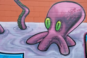 Graffiti Octopus with Green eyes.