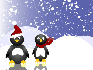 Lustige Pinguine auf dem Eis