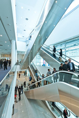 trade fair staircase with blurred people