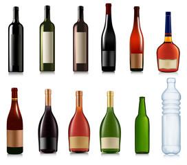 Set of different bottles. Vector illustration.