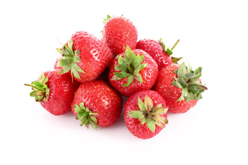 Few strawberries isolated on white
