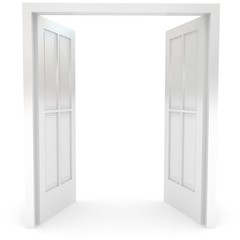 Open door over white
