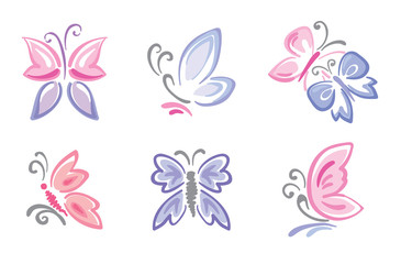 Collection of delicate butterflies