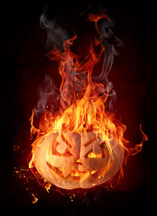 Tuinposter Vlam Burning pumpkin