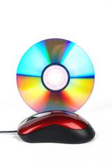 red mouse with DVD
