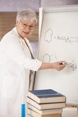 Senior teacher explaining molecular formulas