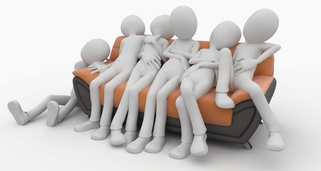 3d man with sofa