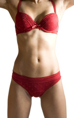 sexy woman body in red lingerie