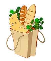 Paper bags with bread, cheese and greengrocery